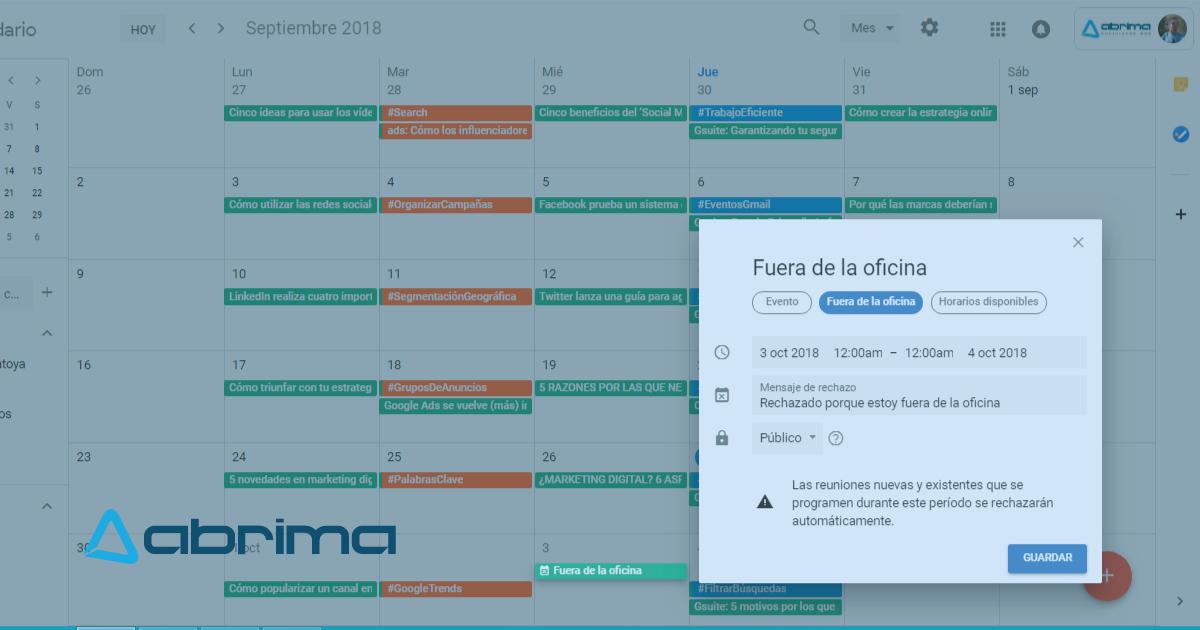 Fuera de oficina nuevo modo de google calendar abrima for Fuera de oficina gmail