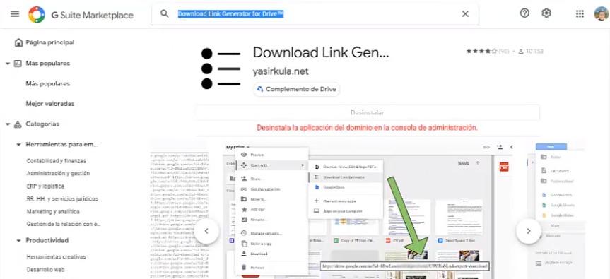 Crea una lista de archivos y sus enlaces de descarga en una carpeta de Drive