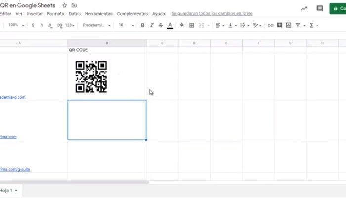 Generar codigo QR en Google Sheets