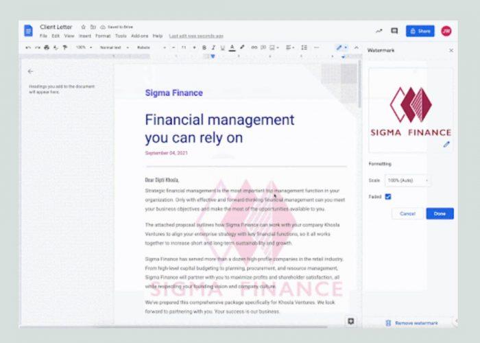 Cómo agregar una marca de agua en documentos con la nueva función de Google Docs