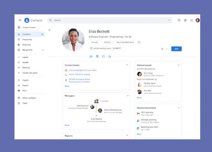 Google Contactos muestra más información sobre tus compañeros de trabajo